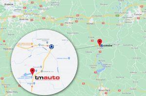 mapa dojazdu do komisu samochodowego Tim Auto